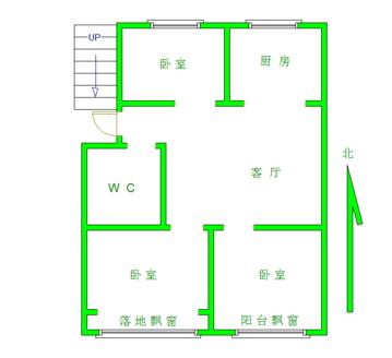 山大南垛顶山公园旁金城花园一期三室一厅一卫5楼,精装拎包入住