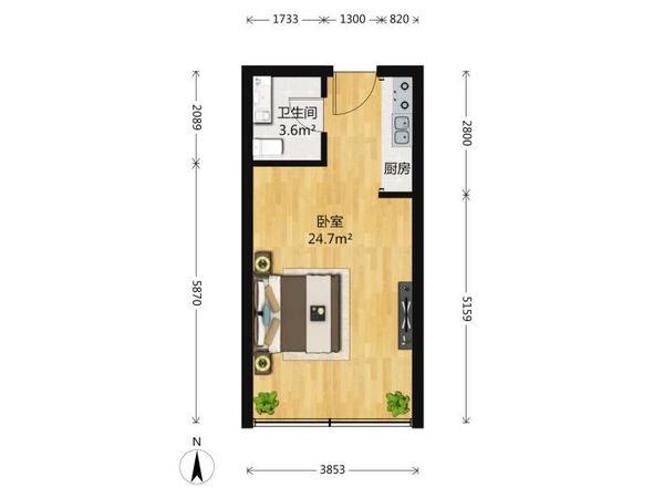昌鸿C区精装小户型一楼带花园电梯房出租