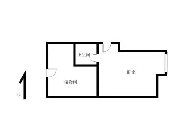 东城国际公寓52.58平8楼 2012年1室1厅现出租,48.8万